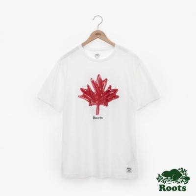 男裝Roots 復古手繪楓葉短袖T恤-白