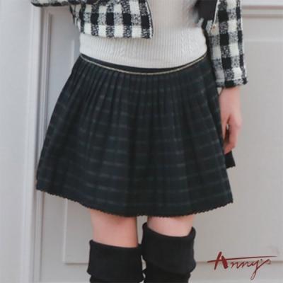 Annys學院風金蔥百搭條紋蕾絲下擺小百褶裙*7280黑