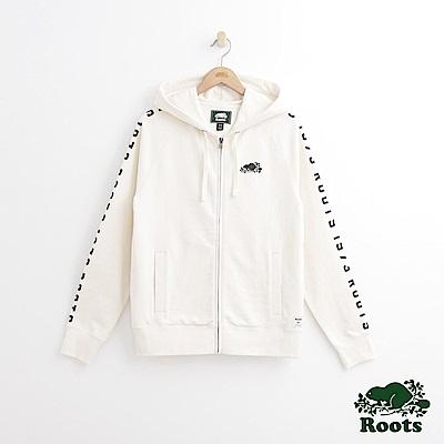 Roots 男裝-雙臂印花連帽外套-白色