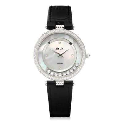 HYUN炫 珍珠母貝環繞鑽石皮革錶-銀