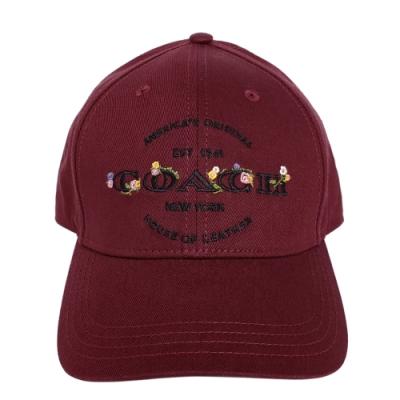COACH酒紅繡花黑色文字純棉棒球帽