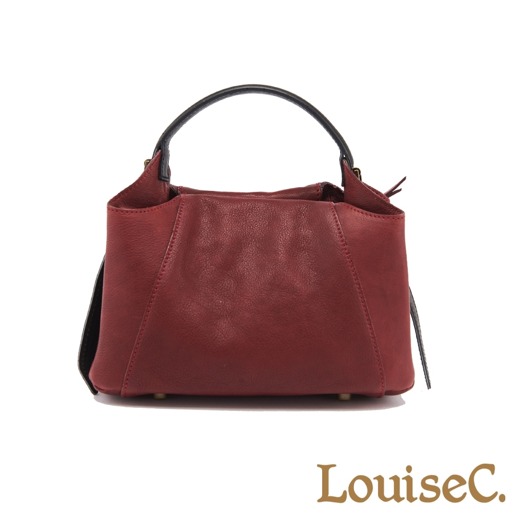 【LouiseC.】植鞣革牛皮立體典雅小手提包-酒紅色 (WI190101-01)