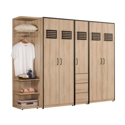 文創集 波德8.2尺開門衣櫃/收納櫃(開門衣櫃組合+側邊櫃)-246x56.5x196.5cm免組
