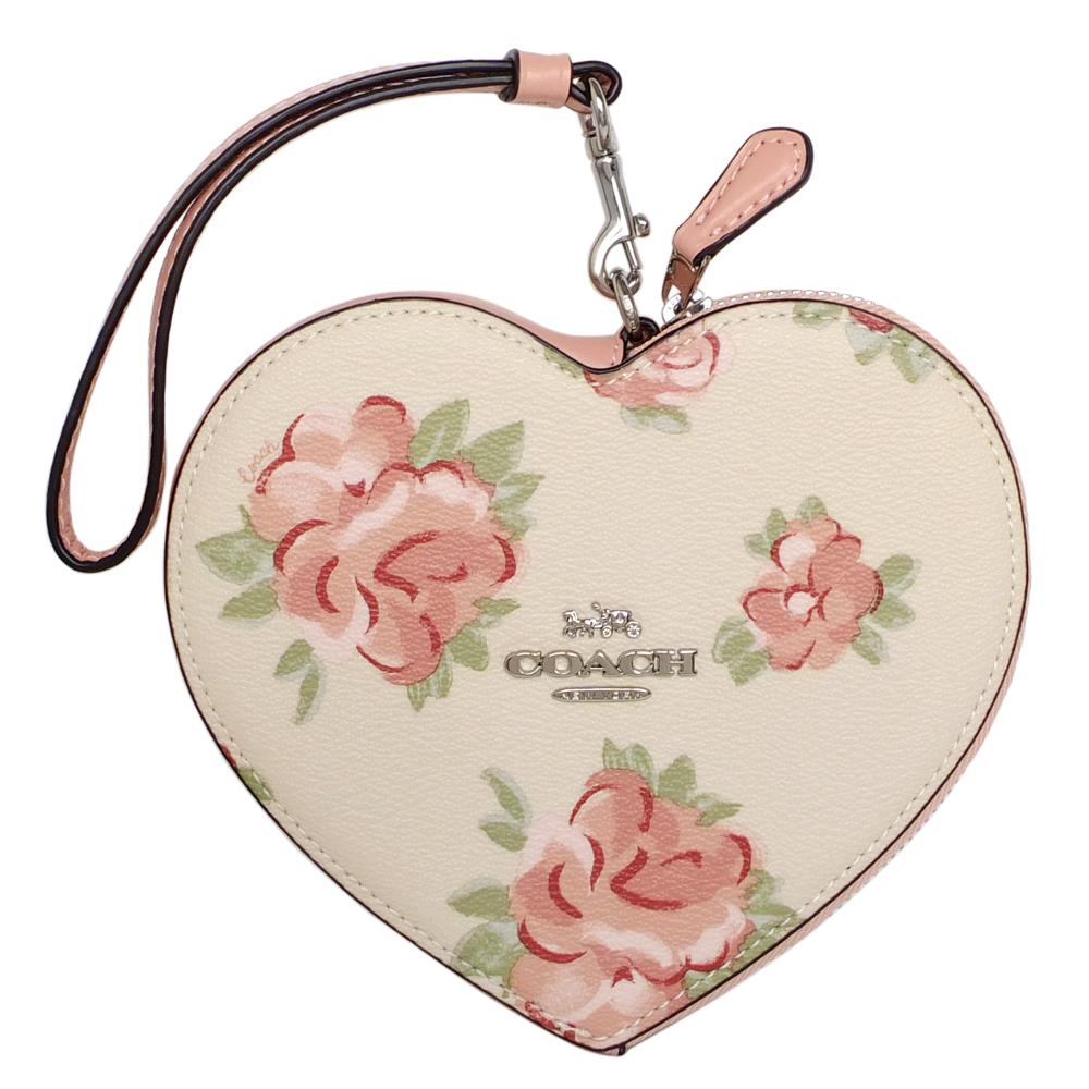 COACH粉紅花朵圖印PVC真皮掛帶大愛心手拿包COACH