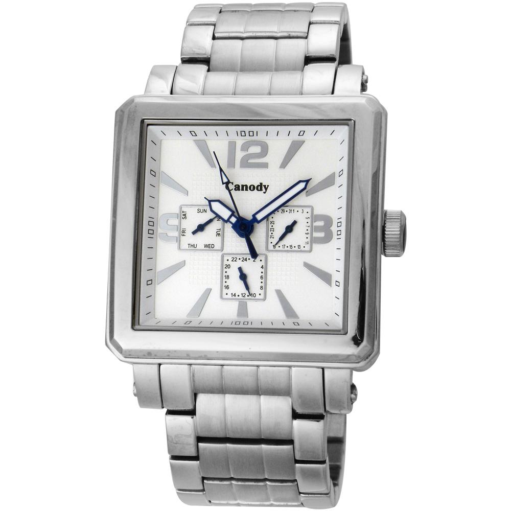 Canody 成熟個性三眼日期手錶(CM5631-B)-銀/41mm @ Y!購物