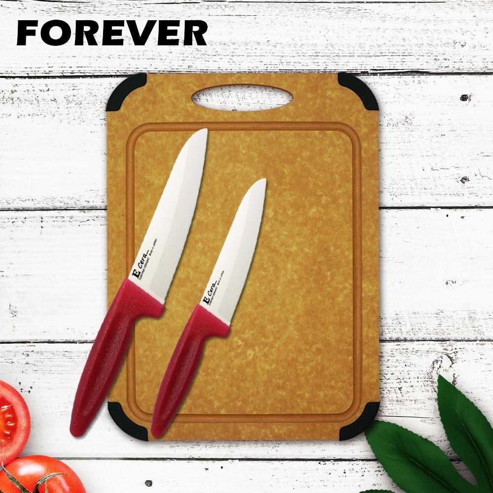 FOREVER 日本松木木質砧板-中+鋒愛華陶瓷刀16+12CM雙刀組(白刃亮粉柄)