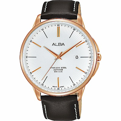 ALBA 雅柏 城市系列時尚手錶(AS9H36X1)-銀x咖啡色錶帶/42mm