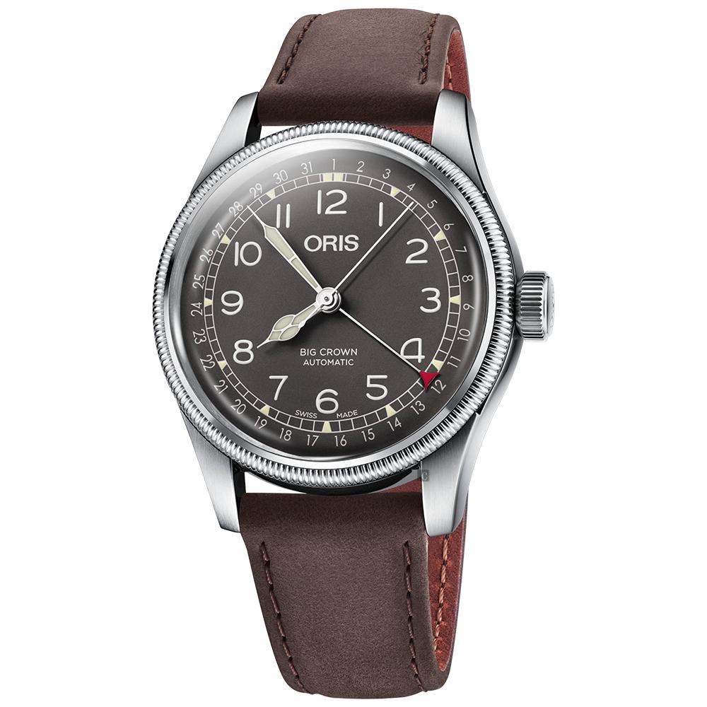ORIS 豪利時 Big Crown指針式日期機械錶-灰x咖啡x40mm
