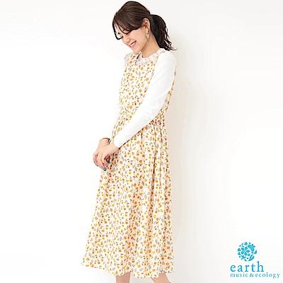 earth music 花朵圖案背心洋裝+蕾絲拼接長袖上衣
