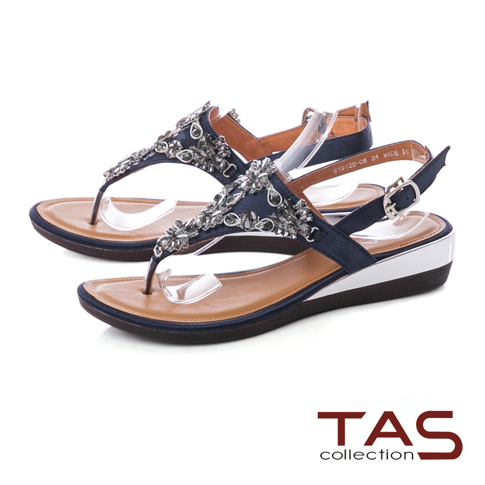 TAS 華麗水鑽夾腳低跟涼鞋-深海藍