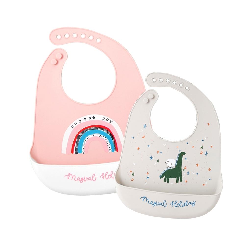 Muslin tree【3入】嬰兒圍兜寶寶吃飯矽膠圍嘴兒童防水飯兜