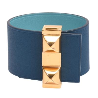 HERMES Imprevisible鉚釘小牛皮雙面寬版手環(黛藍/水藍X金)