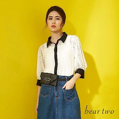 beartwo 鐘型袖蕾絲兩件式襯衫(二色)