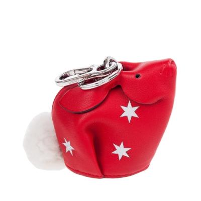 LOEWE 新款Bunny Stars Charm 星星兔子鑰匙圈零錢包 (紅色)