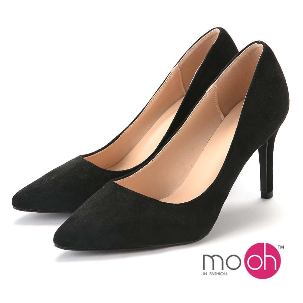 mo.oh-素面尖頭麂皮絨面質感高跟鞋-經典黑