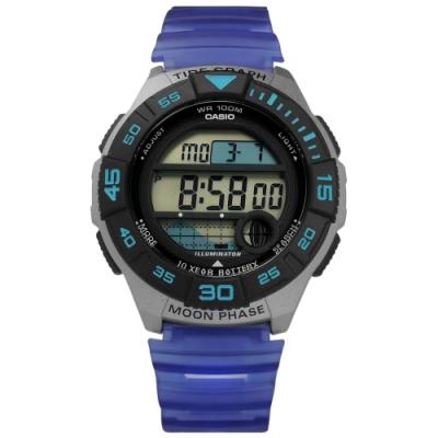 CASIO 卡西歐 電子液晶 月相潮汐顯示 半透明橡膠手錶-黑灰x藍紫/43mm