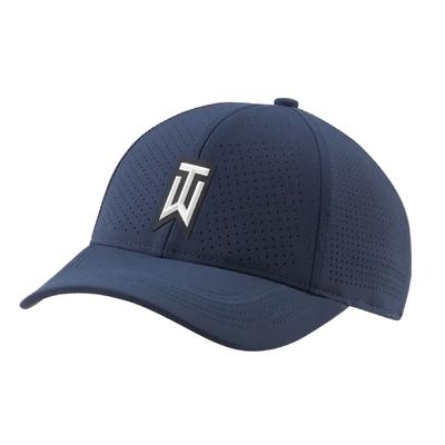 Nike 高爾夫球帽 Perforated Golf Hat Tiger Woods 透氣孔洞 遮陽 藍 白 CW6792-451