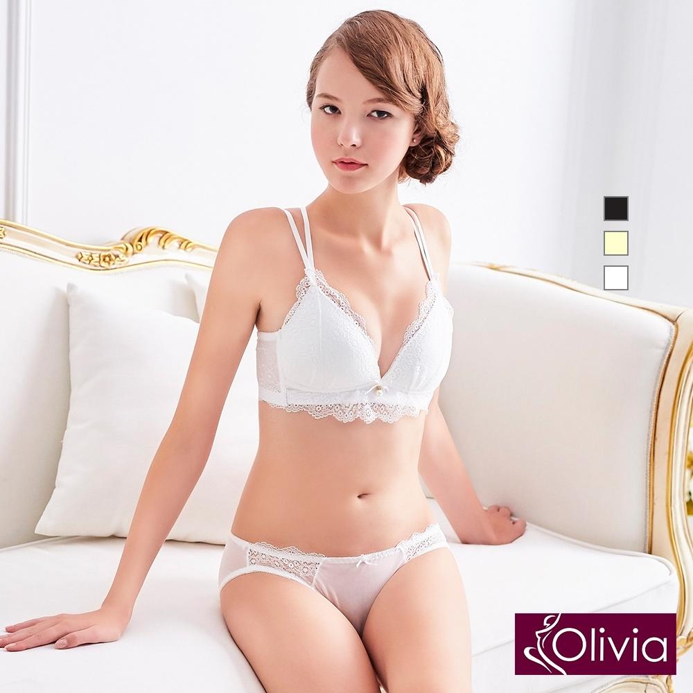 Olivia 無鋼圈蕾絲彈力交叉美背內衣褲套組-白色