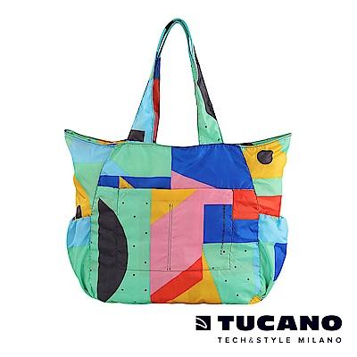 TUCANO X MENDINI 超輕量折疊收納購物包-繽紛幾何