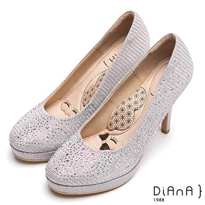 DIANA 漫步雲端瞇眼美人款-奢華閃耀水鑽時尚跟鞋-粉