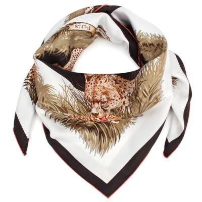 HERMES Guepards獵豹家族方型絲巾-黑白色