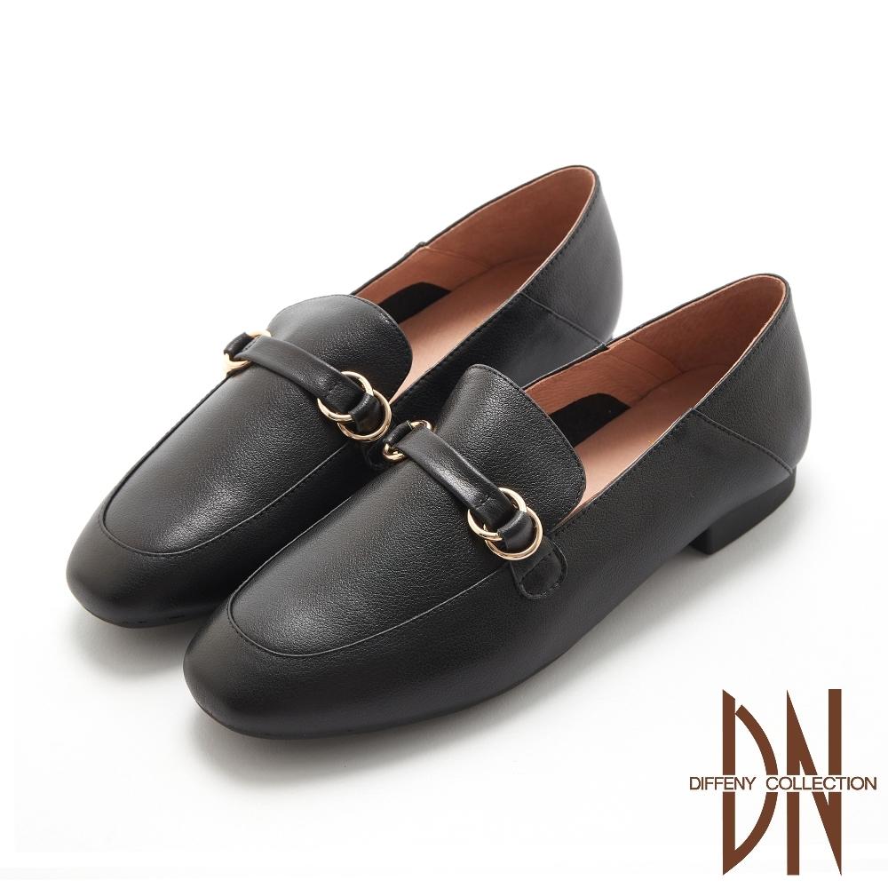 DN樂福鞋_舒適真皮雙環金屬飾扣平底包鞋-黑