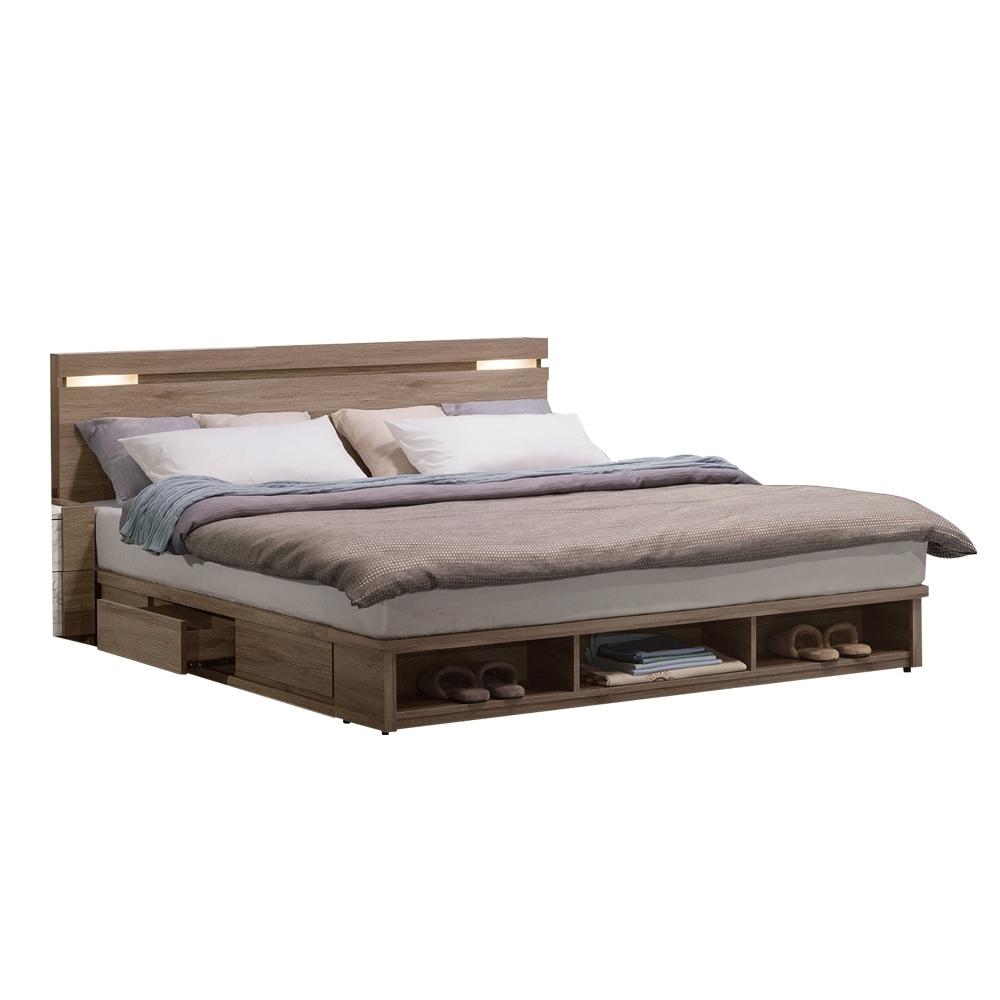 文創集 羅里德6尺多功能雙人床台(床頭片+三抽加大床底+不含床墊)-182x224x91cm免組