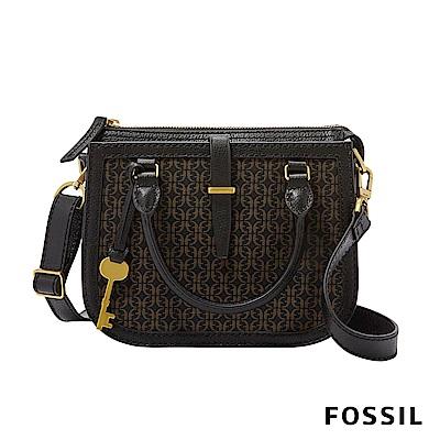 FOSSIL RYDER MINI 黑x咖 真皮mix帆布圓弧斜背包