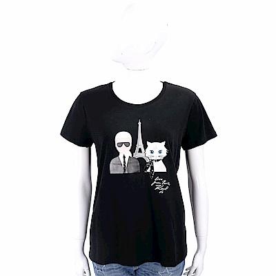 Karl Lagerfeld 鐵塔貓咪黑色棉質T恤