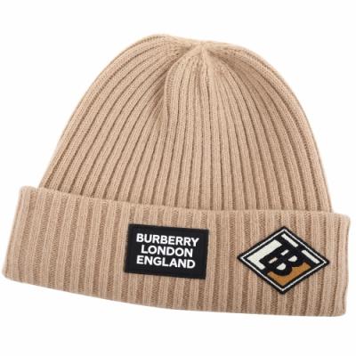 BURBERRY TB 拚色字母標誌羅紋針織羊毛帽(駝色)