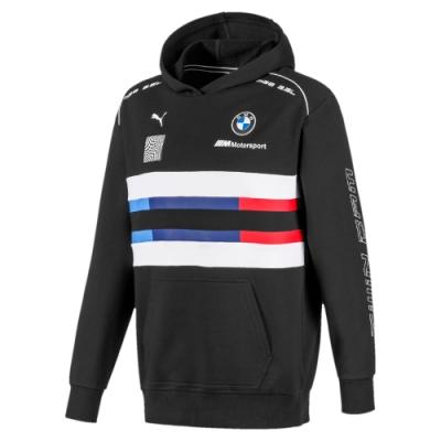 PUMA-男性BMW系列MMS Street長厚連帽T恤-黑色-歐規