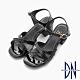 DN 迷人簡約 素面百搭交叉低跟涼鞋-黑 product thumbnail 1