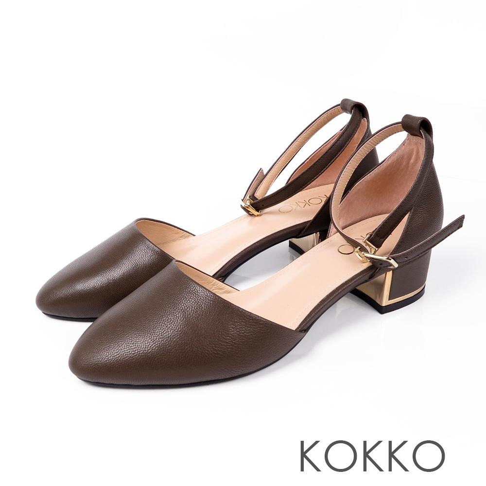 KOKKO - 清晨漫步金屬低跟真皮踝帶鞋 - 抹茶綠