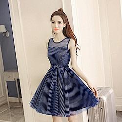 DABI 韓系時尚氣質圓領網紗修身顯瘦無袖洋裝