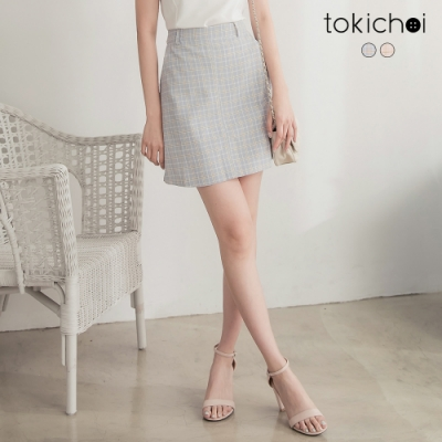 東京著衣 青春活潑細格紋不對稱短裙-S.M.L(共二色)