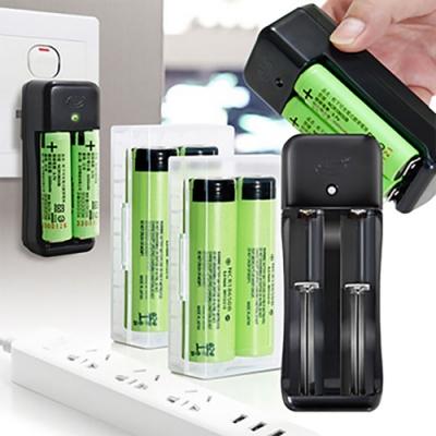 18650新版充電式鋰單電池3350mAh(日本松下原裝正品)(4入)+智慧型認證雙槽充1+防潮盒2