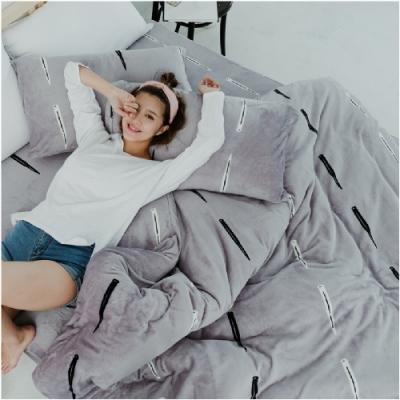 BUHO 極柔暖法蘭絨(6x7尺)標準雙人兩用被套毯(玩味PUNK)