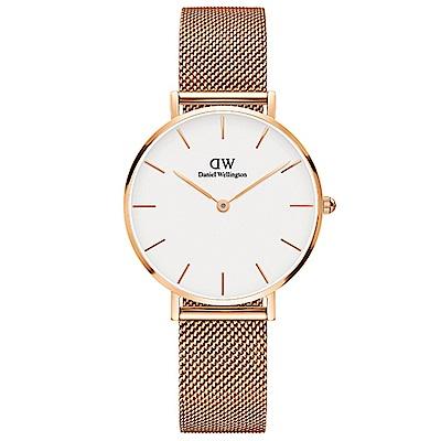 DW手錶 官方旗艦店 32mm玫瑰金框 Classic Petite 香檳金米蘭編織帶手錶