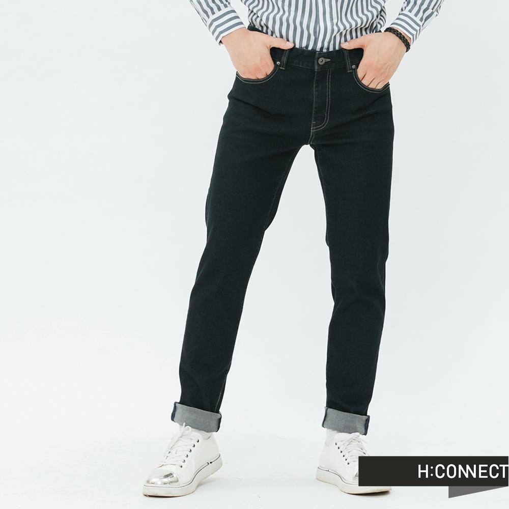 H:CONNECT 韓國品牌 男裝-水洗刷色合身牛仔褲-深藍