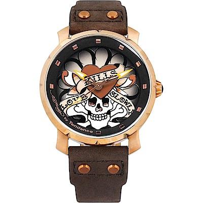 Tendence 天勢 骷髏復古手錶-玫瑰金框x咖啡/47mm(TG230401)