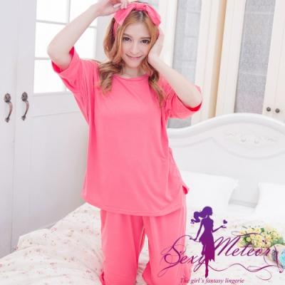 睡衣 全尺碼 素面五分袖睡衣+髮圈+褲子三件式睡衣組(珊瑚紅) Sexy Meteor