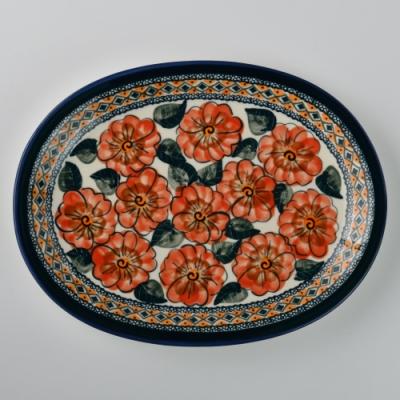 波蘭陶 艷夏扶桑系列 橢圓形餐盤 29cm 波蘭手工製