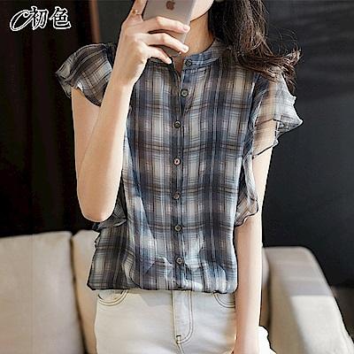 初色  氣質荷葉邊襯衫-格子-(M-2XL可選)