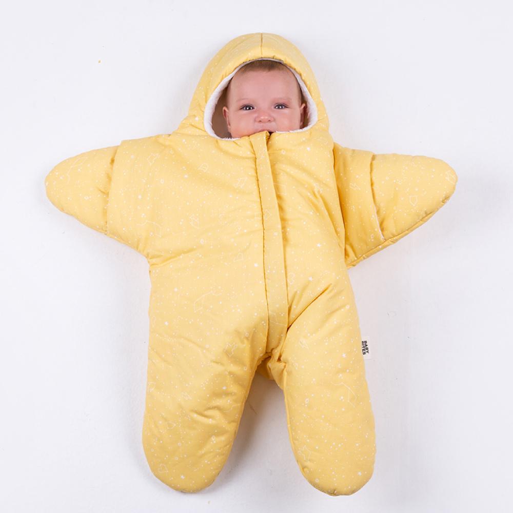 【小海星標準版-鵝蛋黃 】鯊魚咬一口BabyBites純棉嬰幼兒睡袋