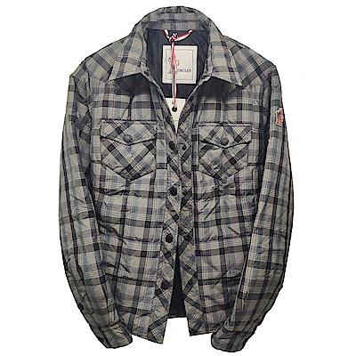 MONCLER GRENOBLE RISOUL經典車縫襯衫造型羽絨外套(黑灰格)