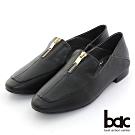 【bac】方頭腳背拉鍊深口兩穿式樂福鞋-黑