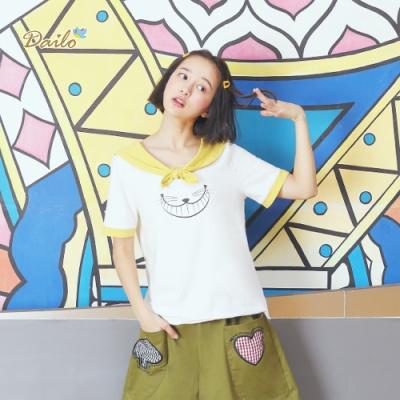 【DAILO】水手服喵咪造型-上衣(三色)