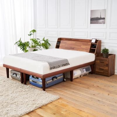 時尚屋  野崎5尺床箱型5件房間組-床箱+高腳床+床頭櫃2個+床墊