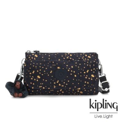 Kipling 燦爛潑墨星光翻蓋肩背側背包-VECKA STRAP