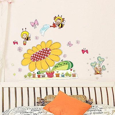 半島良品 DIY無痕壁貼-蜜蜂太陽花 AY606 45x60cm